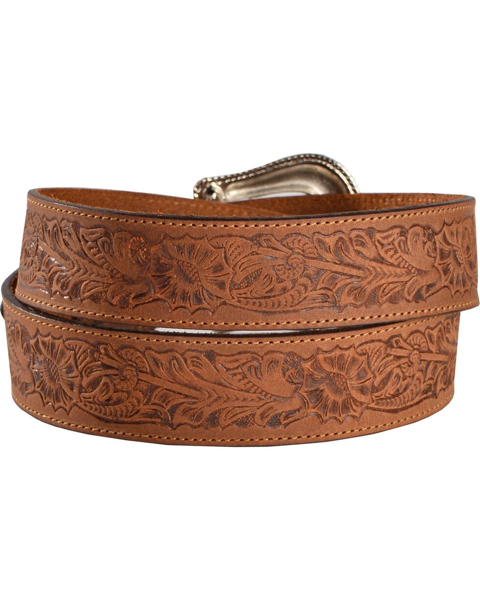 Cody James Men's Floral Tooled Belt, Brown, hi-res