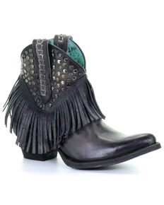 Corral Women's Fringe and Studded Western Boots - Snip Toe, Black, hi-res