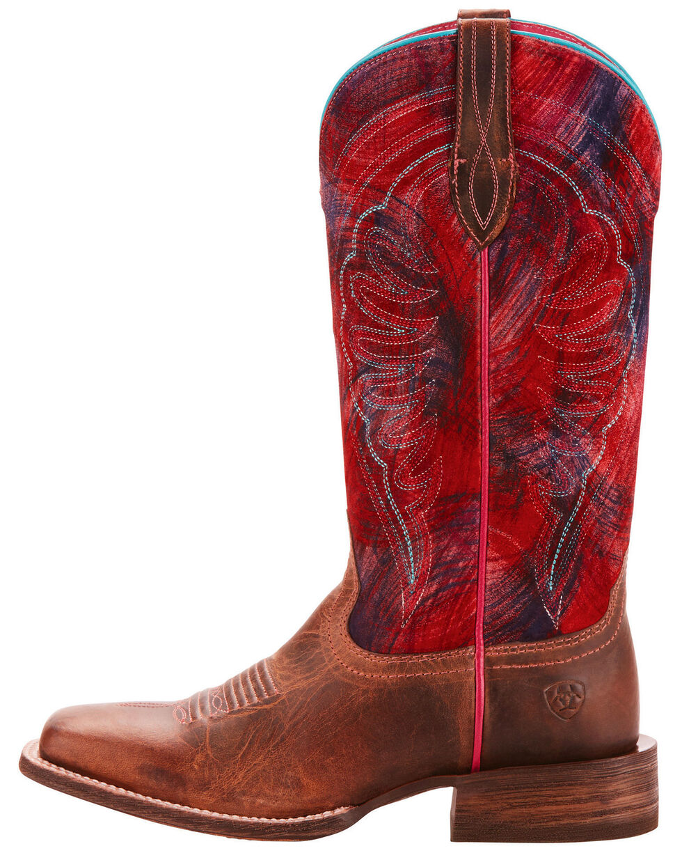Ariat Women's Circuit Shiloh Paint Brush Pink Performance Cowgirl Boots - Square Toe, Tan, hi-res