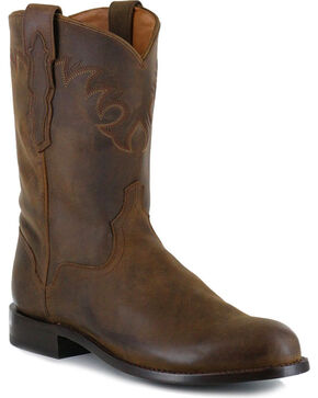 El Dorado Men's Handmade Tan Distressed Roper Western Boots - Round Toe , Tan, hi-res