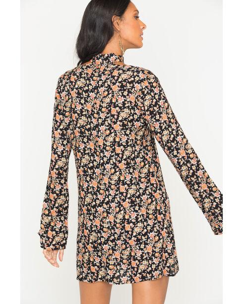 Glam Women's Floral Cut Out Trapeze Dress , Black, hi-res