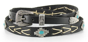 Cody James Men's Silver and Turquoise Concho Hat Band, Black, hi-res