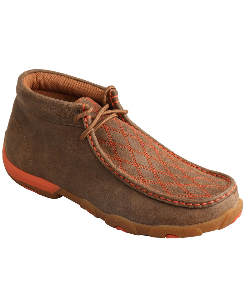 Twisted X Women's Orange Stitched Lace-Up Driving Mocs , , hi-res