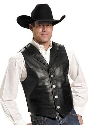 Roper Men's Nappa Notched Collar Leather Vest, Black, hi-res