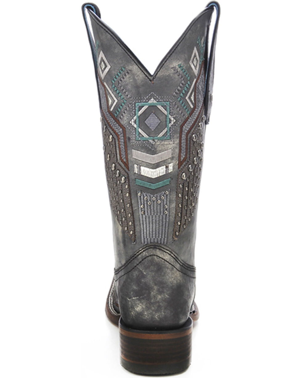 Corral Women's Tribal Pattern Studded Cowgirl Boots - Square Toe, Black, hi-res