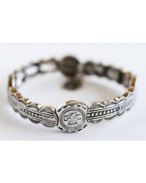 West & Co. Women's Burnished Silver Aztec Thunderbird Stretch Bracelet, Silver, hi-res
