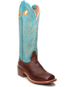 Tony Lama Women's Umber Brown Emmeline Cowhide Leather Western Boot - Wide Square Toe , Brown, hi-res