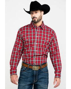 Wrangler Men's Med Plaid Wrinkle Resistant Long Sleeve Western Shirt , Red, hi-res
