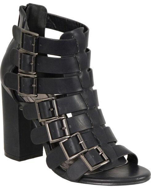 Milwaukee Leather Women's Black Block Heel Strappy Sandals , Black, hi-res
