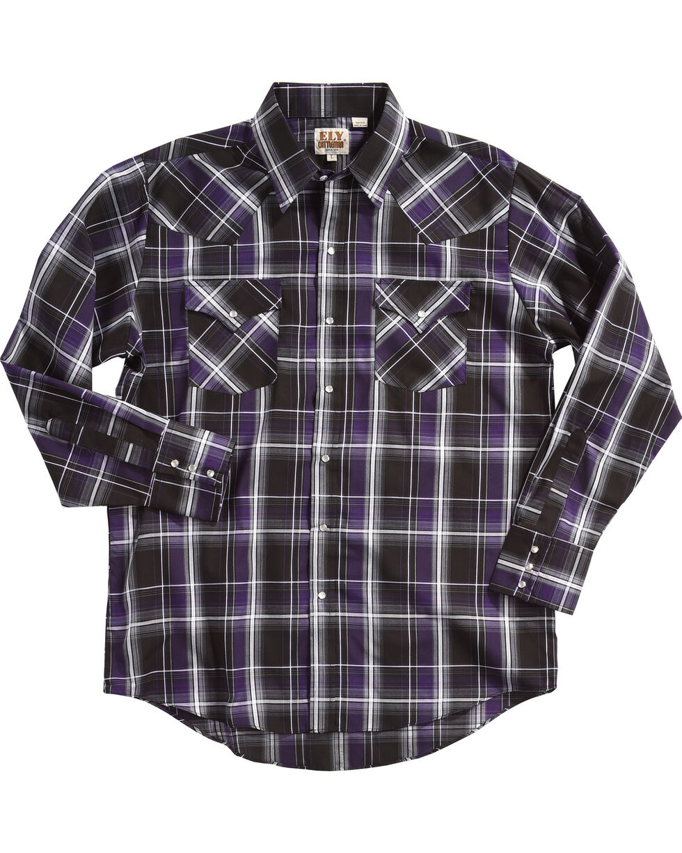 Ely Cattleman Men's Black Textured Plaid Western Shirt , Black, hi-res