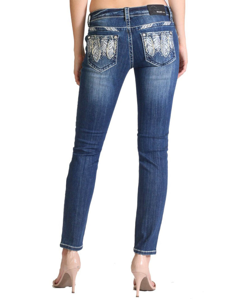 Grace In LA Women's Feather Pocket Mid Rise Straight Jeans , Blue, hi-res