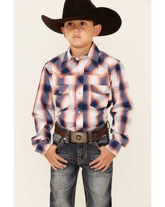 Cowboy Hardware Boys' Orange & Navy Plaid Long Sleeve Snap Western Shirt , Navy, hi-res