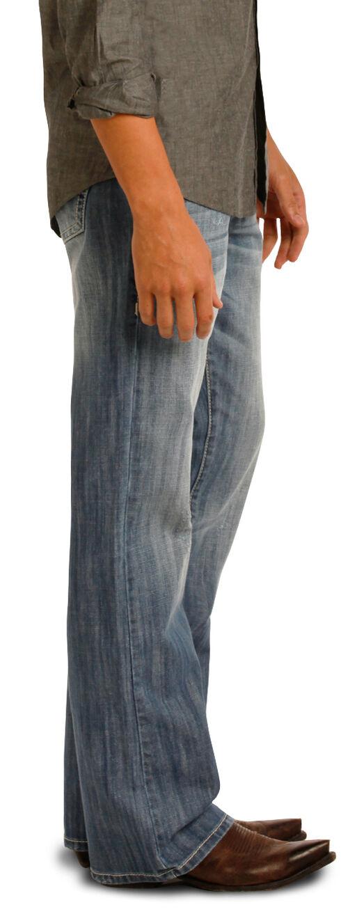 Rock & Roll Cowboy Men's Blue Double Barrel Jeans - Boot Cut , Blue, hi-res