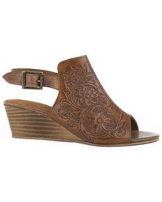 Roper Women's Burnish Floral Tooled Leather Sandals, Tan, hi-res