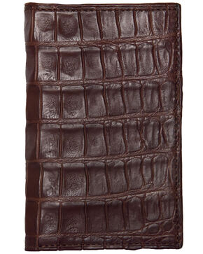 Lucchese Men's Sienna Genuine Crocodile Bi-fold Wallet, Brown, hi-res