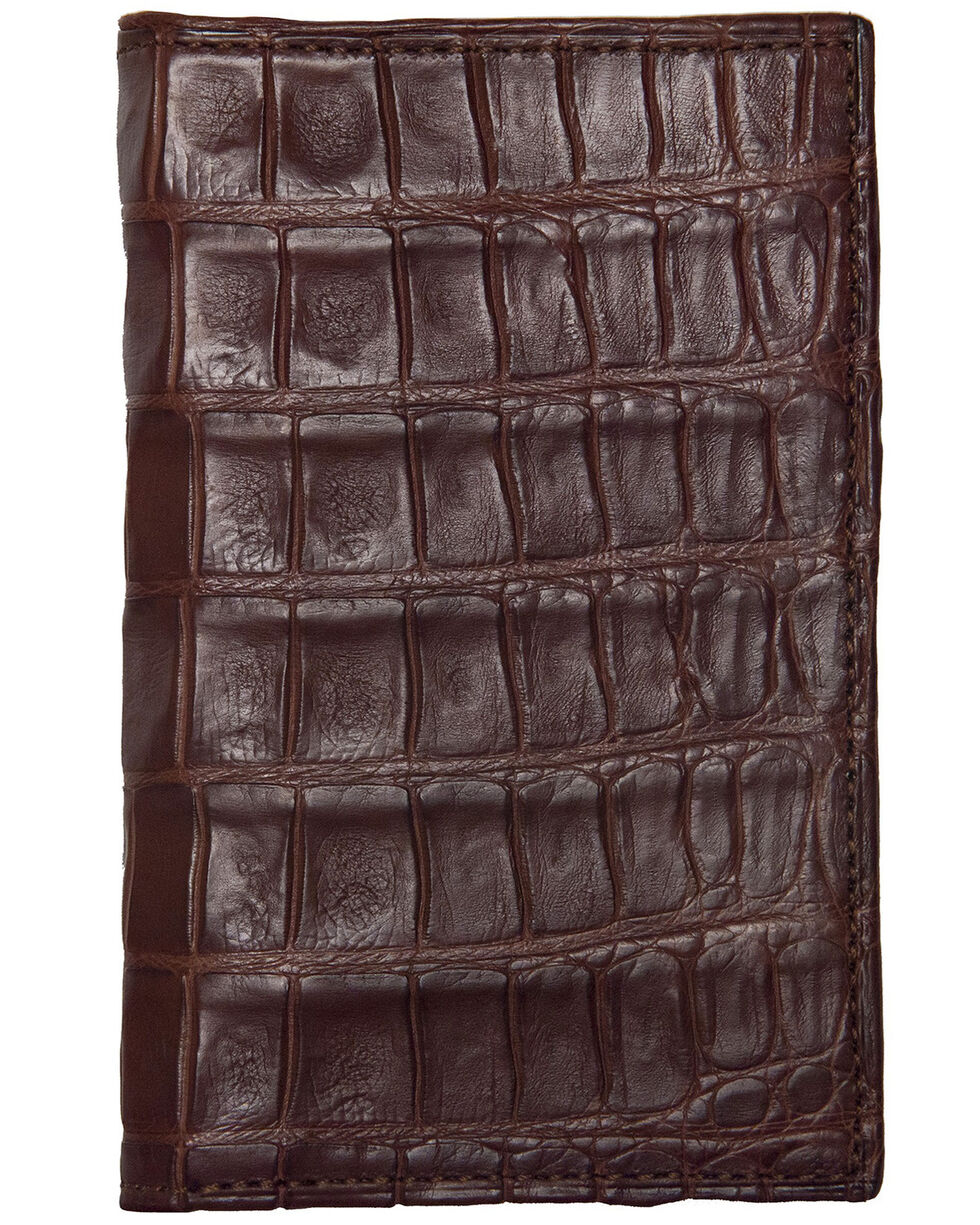 Lucchese Men's Sienna Genuine Crocodile Bi-fold Wallet, Brown, hi-res