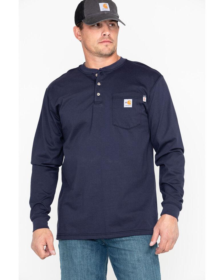 Carhartt Flame Resistant Henley Long Sleeve Work Shirt, Navy, hi-res