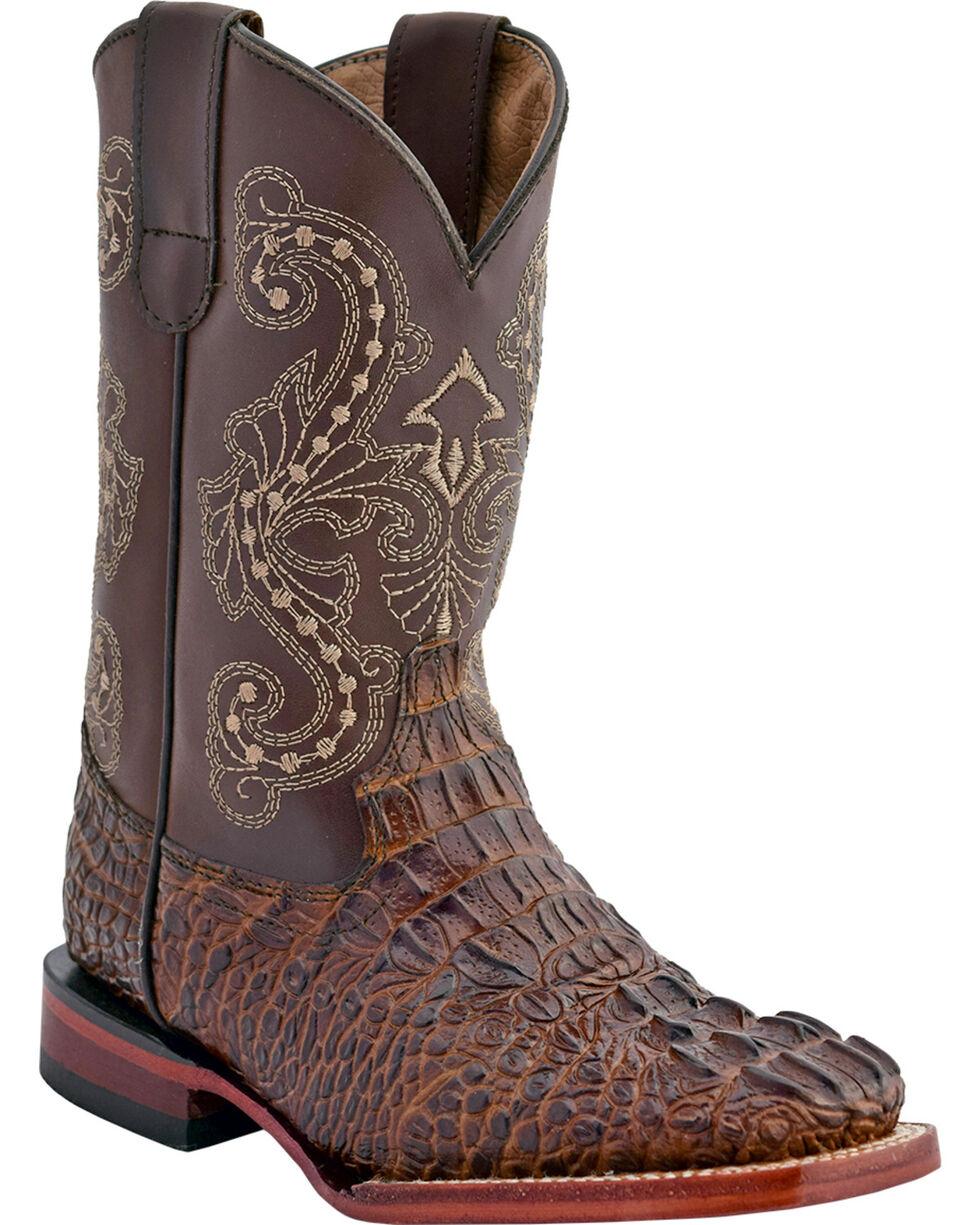 Ferrini Boys' Caiman Print Western Boots - Square Toe, Chocolate, hi-res