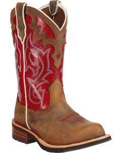 Ariat Unbridled Red Cowgirl Boots - Round Toe, Brown, hi-res