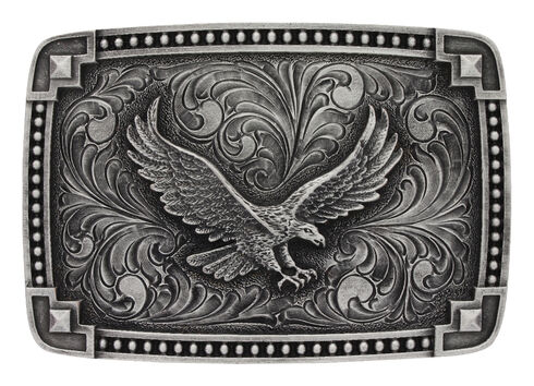 Montana Silversmiths Tied at the Corner Soaring Eagle Buckle , Silver, hi-res