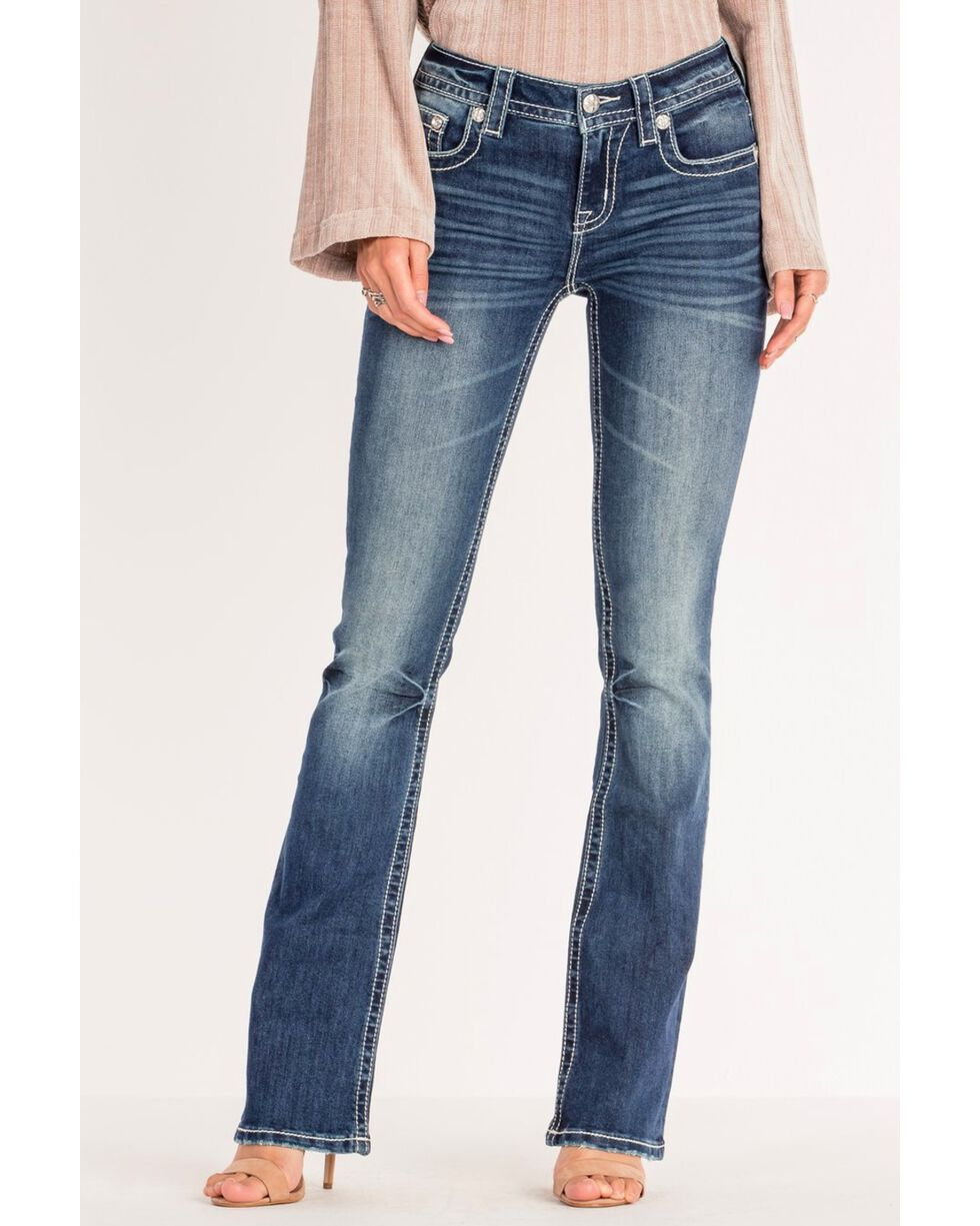 Miss Me Women's Aztec Inspired Mid-Rise Boot Cut Jeans , Blue, hi-res