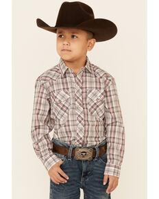 Roper Boys' Cream Plaid Long Sleeve Snap Western Shirt , White, hi-res