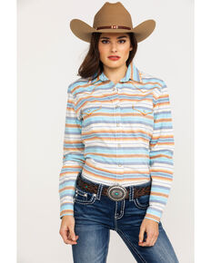 Panhandle Women's Rough Stock Topsail Ombre Striped Long Sleeve Western Shirt , Cream, hi-res