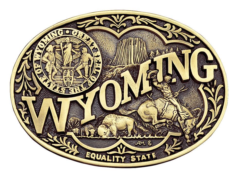 Montana Silversmiths Wyoming State Heritage Attitude Belt Buckle, Gold, hi-res