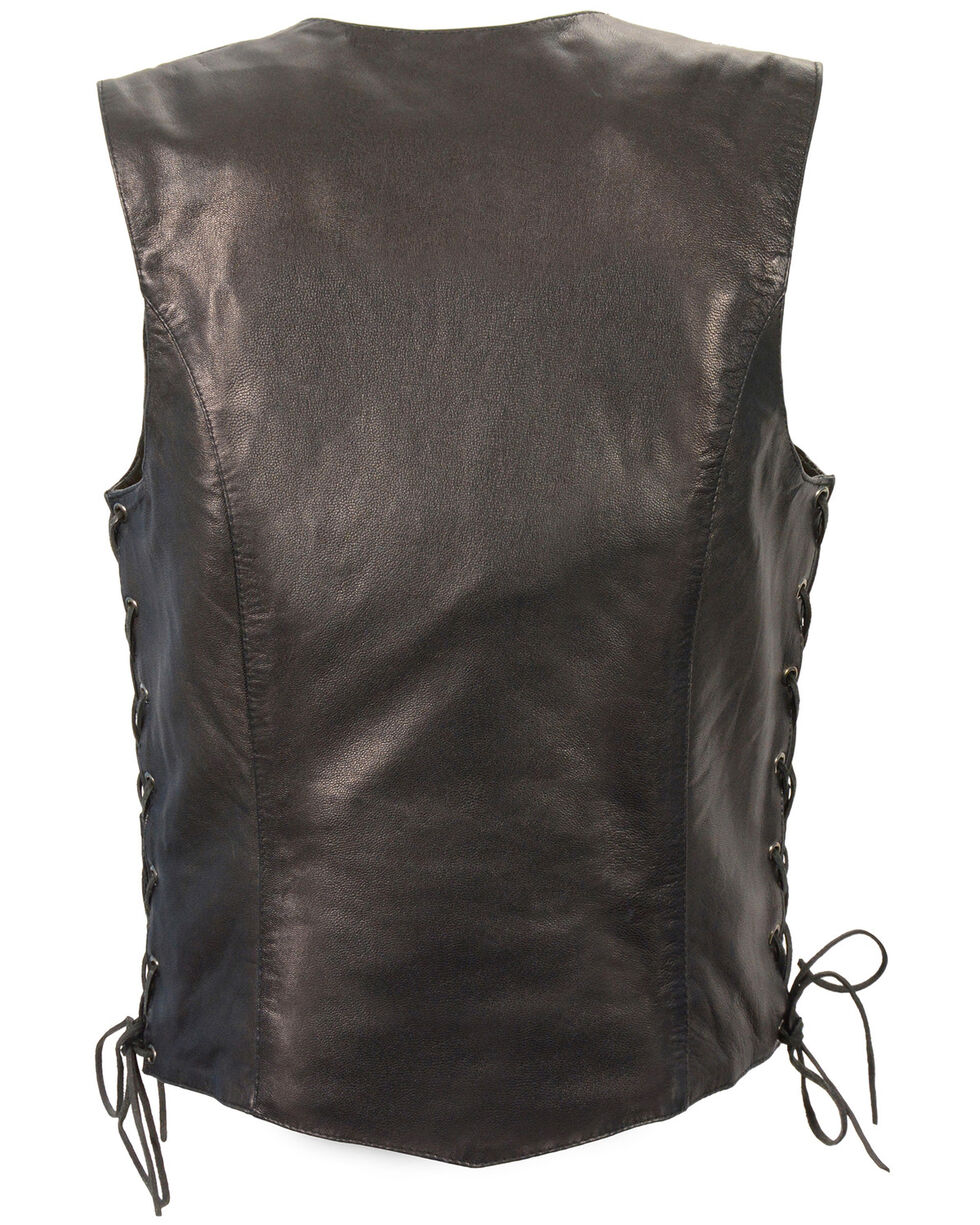 Milwaukee Leather Women's Black Lightweight Side Lace Conceal Carry Vest - 4X , Black, hi-res