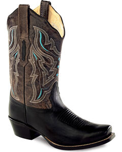 Old West Embroidered Cowgirl Boots - Square Toe, Black, hi-res