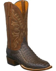Lucchese Men's Handmade Chavez Caiman Western Boots - Square Toe, Brown, hi-res