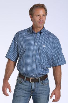 Cinch Men's Blue Geo Print One Pocket Short Sleeve Shirt - Big and Tall, Blue, hi-res
