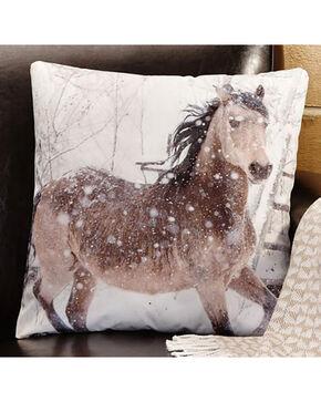 Giftcraft Horse Print Decorative Velvet Pillow , White, hi-res