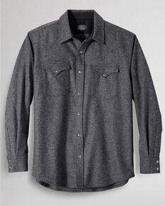 Pendleton Men's Grey Canyon Solid Long Sleeve Snap Western Flannel Shirt , Grey, hi-res