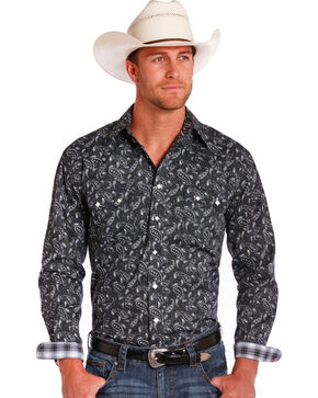 Rough Stock by Panhandle Men's Paisley Black Long Sleeve Snap Shirt, Black, hi-res