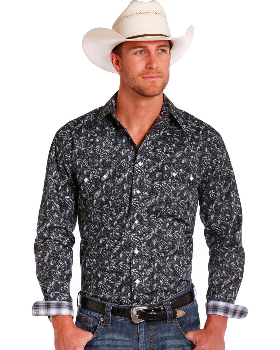 Rough Stock by Panhandle Men's Imperia Vintage Print Western Shirt, Black, hi-res
