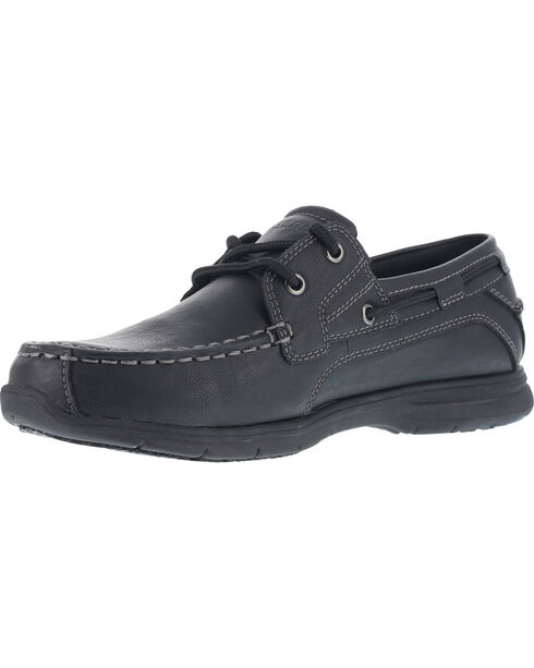 Grabbers Men's Runabout ESD Boat Shoes - Soft Toe , Black, hi-res