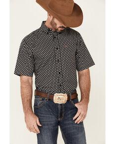 Ariat Men's French Stretch Geo Print Short Sleeve Button-Down Western Shirt , Black, hi-res