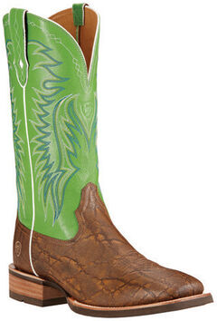 Ariat Men's Big Loop Elephant Print Cowboy Boots - Square Toe, Tan, hi-res