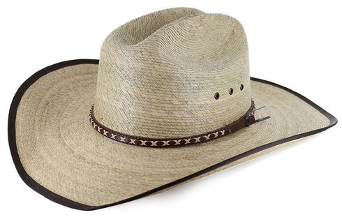 Cody James Brown Trimmed Straw Cowboy Hat, Natural, hi-res