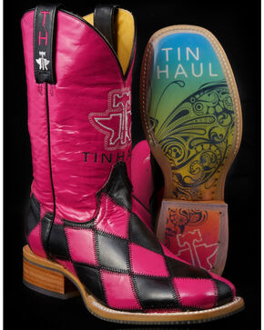 Tin Haul Women's Harlequin & Rainbow Cowgirl Boots - Square Toe, Pink, hi-res