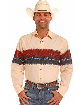 Panhandle Men's Scenic Horse Border Print Long Sleeve Western Shirt, Cream, hi-res