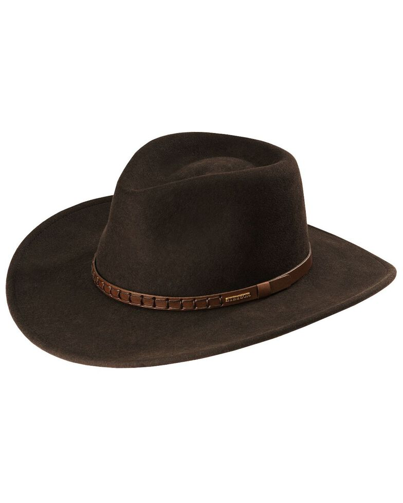 Stetson Sturgis Pinchfront Crushable Wool Felt Hat, Chocolate, hi-res