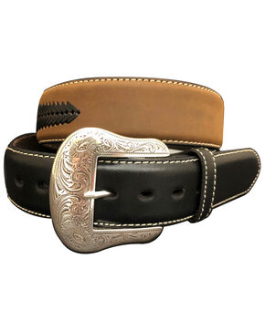 G-Bar-D Men's Brown Laced Distressed Leather Belt , Brown, hi-res