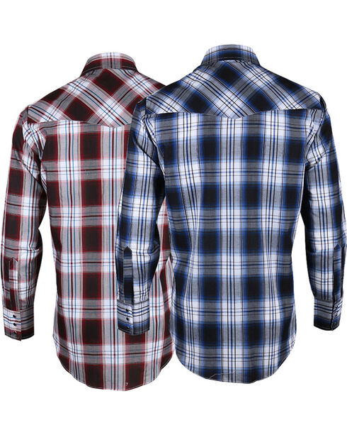 Ely Cattleman Men's Assorted Dobby Plaid Long Sleeve Shirt, Multi, hi-res