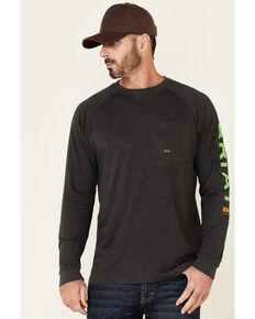 Ariat Men's Charcoal Rebar Cotton Strong Logo Long Sleeve Graphic Work Pocket T-Shirt , Charcoal, hi-res