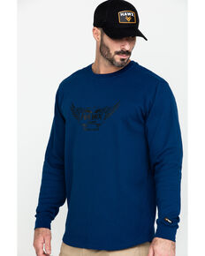 Hawx Men's Blue Wings Graphic Thermal Long Sleeve Work T-Shirt , Blue, hi-res