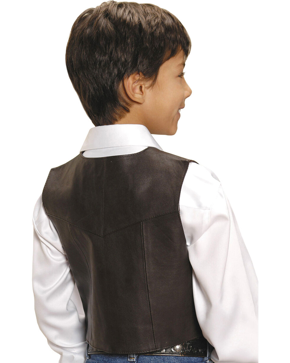Roper Kids' Lambskin Leather Vest - 7-14, Brown, hi-res
