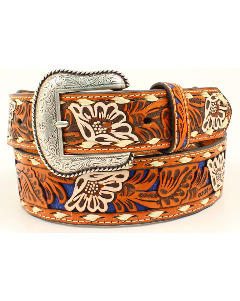 Nocona Men's Blue Inlay Floral Embossed Western Belt, Blue, hi-res
