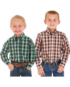 Wrangler Boys' Assorted Plaid Long Sleeve Shirt , Multi, hi-res